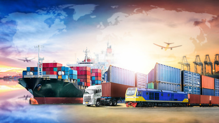 Global business logistics import export background and container cargo transport concept Banco de Imagens