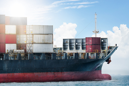 Logistics import export concept and transport industry of container cargo freight ship in the ocean at blue sky, Freight transportation, Shipping Banque d'images