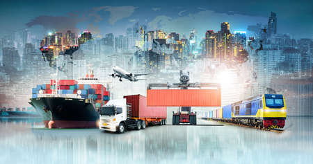 Global business logistics import export background and container cargo freight ship transport concept Banque d'images