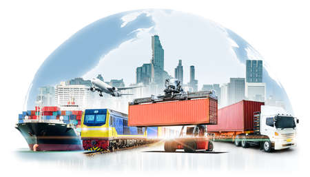 Global business logistics import export on white background and container cargo freight ship transport concept Фото со стока