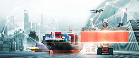 Global business logistics import export concept, container truck, ship in port and freight cargo plane in transport, logistics network distribution, online goods orders