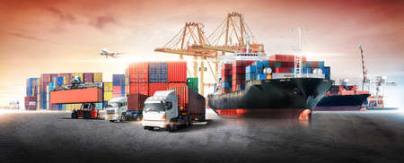 Business logistics and transportation concept of container cargo ship and cargo plane with working crane bridge in shipyard at sunset sky, logistic import export and transport industry background 版權商用圖片