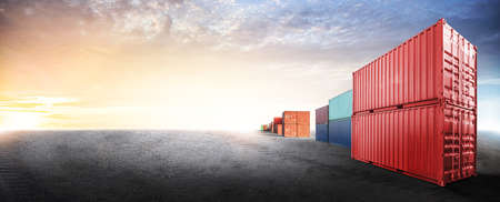 Containers box from cargo freight ship in dockyard with copy space and empty ground floor for design cover web, logistics import export business concept 版權商用圖片