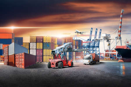 Business logistics and transportation concept of containers cargo freight ship and cargo plane with working crane in shipyard at sunset sky, logistic import export and transport industry background Stock fotó - 155365397