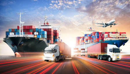 Business logistics and transportation concept of containers cargo freight ship and cargo plane in shipyard at sunset sky, logistic import export and transport industry background 版權商用圖片