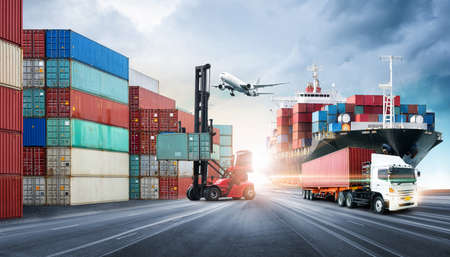 Business logistics and transportation concept of containers cargo freight ship and cargo plane in shipyard at dramatic blue sky, logistic import export and transport industry background