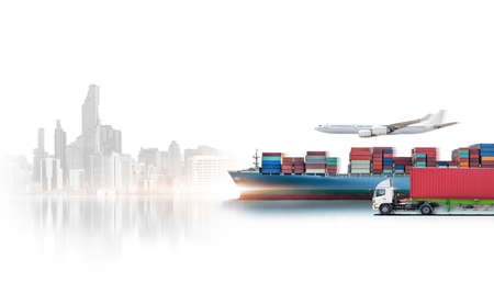 Business logistics and transportation concept of containers cargo freight ship, cargo plane, container truck, logistic import export and transport industry background 版權商用圖片