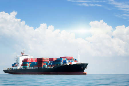 Container cargo ship in the ocean at blue sky, Global business logistics import export background, Freight transportation, Shipping