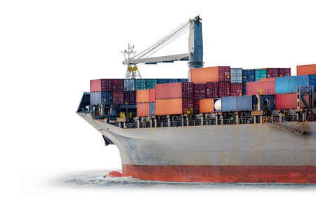 Container Cargo ship isolated on white background, Freight Transportation and Logistic, Shipping