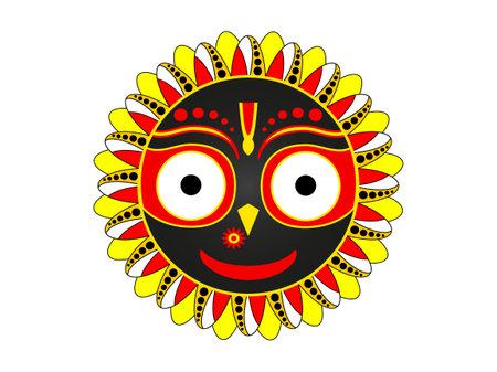 Smiling Jaganath. Happy yellow hindu red krishna avatar with big eyes traditional radha yatra celebration with jagantha puri travel of deities sacred worship and grand vector celebration.