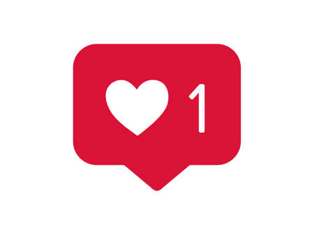 Red sincere like icon. Hearty web declaration of love with social information notification approval content and application users general joy followers for success of famous vector blogger.