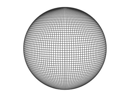 Sphere with geometric grid. Monochrome ball covered with linear squares digital planet mesh black meridians connected in force vector field.