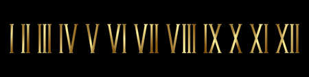 Gold roman numerals black background set. Elegant ancient number font 1 to 12 old luxury math for templates and retro vector counting.