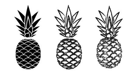 Pineapples varieties icons. Black fruits with shaggy scales and tops organic vitamins exotic food and healthy vector juice.