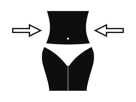Shapely slimming waist icon. Beautiful black slim figure with arrows pointers to sides healthy diet and fitness guarantee sensuality beach vector summer.