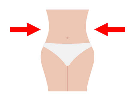 Slimming shapely waist icon. Beautiful color slim figure with red arrows pointers to sides healthy diet and fitness guarantee sensuality beach vector summer. Illusztráció