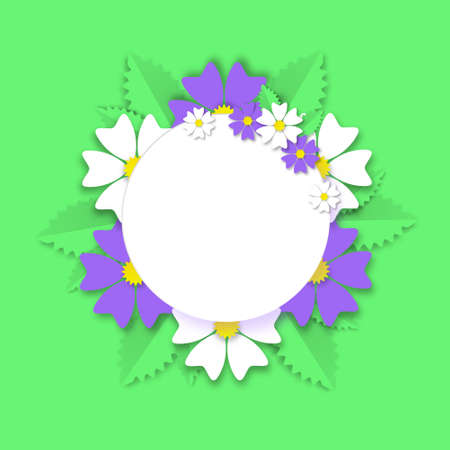 Summer wreath wildflowers on green grass paper cut banner. White daisies with purple cornflowers and jagged leaves around empty circle for romantic vector greetings poster.
