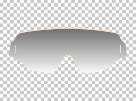 Realistic sunglasses in beige rim isolated template. Futuristic ultra modern shape with curves with tinted glass and stylish temples elegant trendy vector optics.