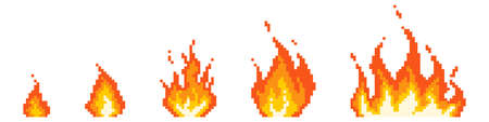 Stages of pixel fire ignition. Small red bonfire turning into fiery hell consequences of explosion blazing with raging vector flame.