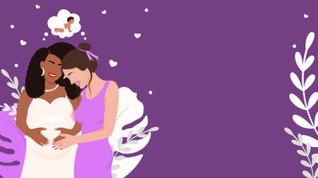 Family couple expecting baby banner. Pregnant african american woman and white girl smiling happily. Dreams of imminent baby. Eco long awaited conception in caring vector parents