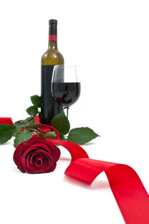 Red rose with red wine
