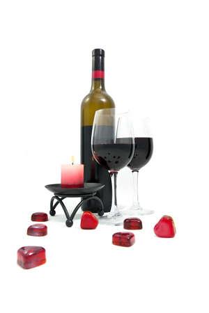 wineglass with many hearts Stock Photo