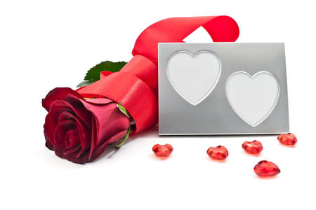 Heart photoframe with a rose Stock Photo - 12041471