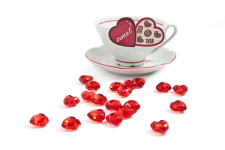 A Sweet cup of coffee with many hearts Stock Photo