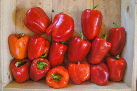 Red Bell Pepper in a wooden box