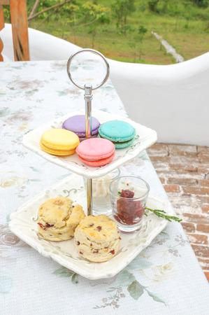 Macarons Scones on serving rack