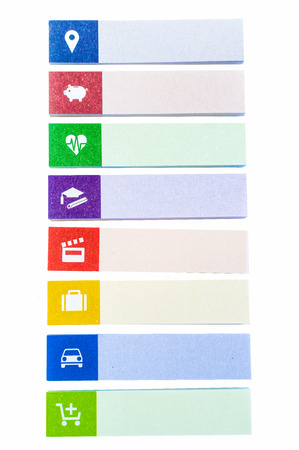 Colorful Sticky Notes with symbols isolated on white background : location, savings  bank, health  hospitals, school  education, movie  entertainment, business, transportation, shopping