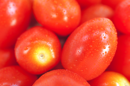 Top View Pattern of Fresh Cherry Tomatoes with Selective Focus