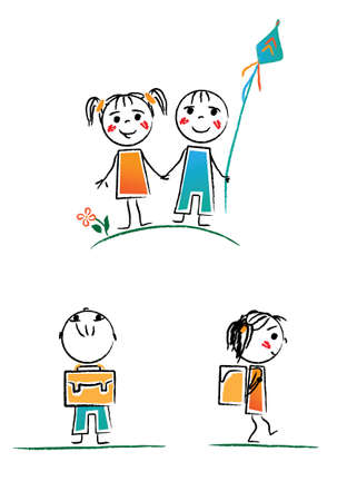 hand-drawing style kids Vector