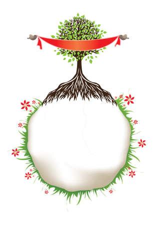tree text frame Illustration