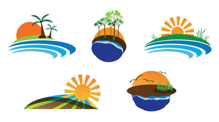 industrial park: nature logo set Illustration