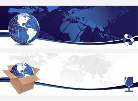earth moving: Pancartas con globo Vectores