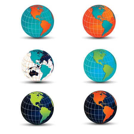 Vector globe variations Vector