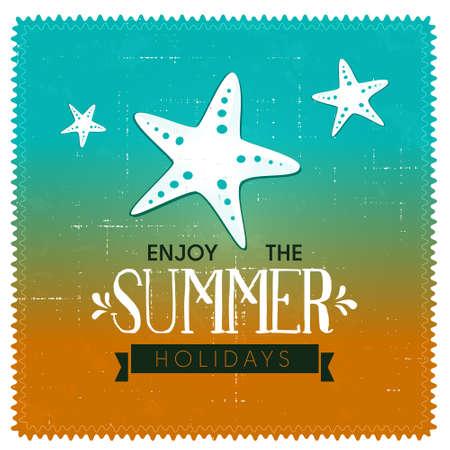 Summer background design with starfish  Illustration