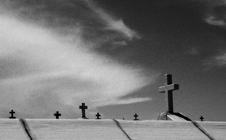 gospel music: Tombs and crosses in the cemetery, gray motif