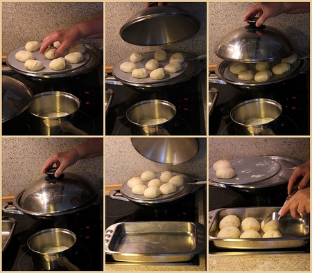 steaming: Homemade dumplings, collage steaming process