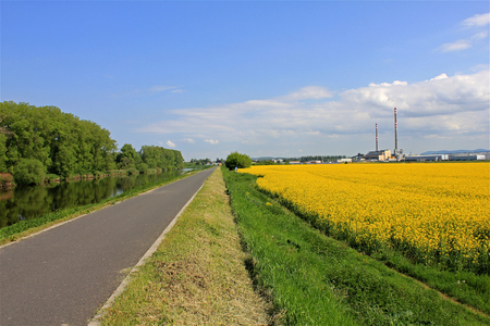 morava: Bicycle path along the river Morava, heating plant with two chimneys in background, rapeseed field lined bike path