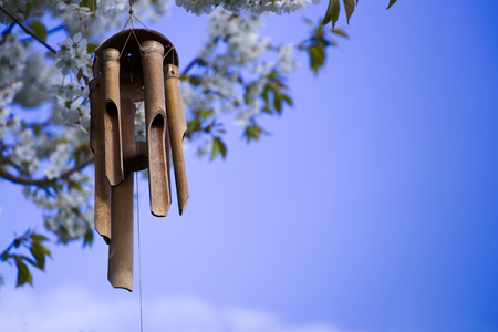 wind chimes hanging in a blooming tree, bamboo chimes in a garden with blu sky background