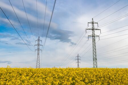 High voltage power line in oilseed rape field and beautiful sky. Electricity pylon in agricultural field. Transmission of electricity energy in rural scene Standard-Bild