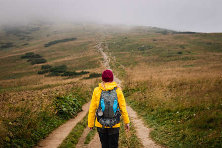 Long way up to mountain peak. Woman hiking on footpath in national park Mala Fatra, Slovakia. Adventure in nature Фото со стока