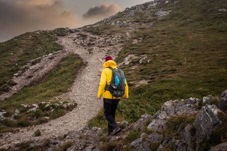 Mountain trekking. Woman with backpack and sport clothing hiking outdoors in natural park Mala Fatra, Slovakia