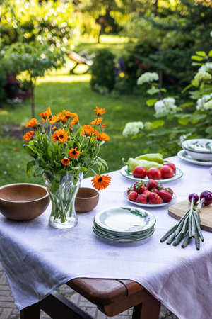 Dining table ready for garden party. Place setting with plates, vegetable, fruits and bouquet of marigold flowers