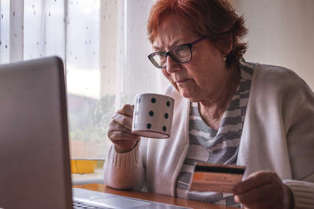 Senior woman using laptop and online shopping by credit card from home. Old people and internet Stock fotó