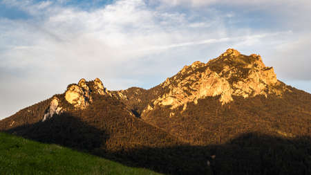 Rocky mountain know as Velky Rozsutec during sunset in natural parkland Mala Fatra, Slovakia