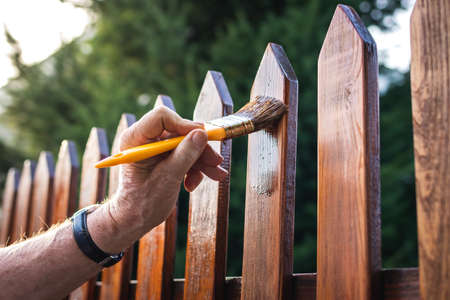 Man painting wood stain at timber plank in garden. Paint protective varnish on wooden picket fence at backyard Stock fotó