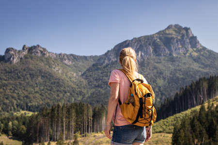 Female tourist looking at rocky mountain know as Velky Rozsutec in Mala Fatra, Slovakia. Woman with backpack hiking in nature during summer vacation